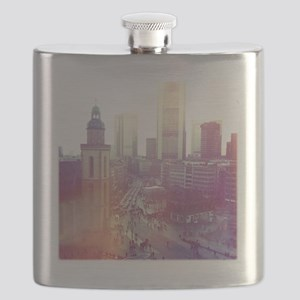 Frankfurt city downtown with church in foreg Flask