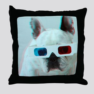 French Bulldog with 3d glasses. Throw Pillow