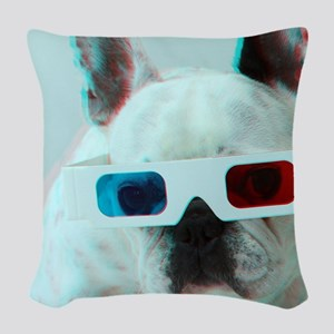 French Bulldog with 3d glasses Woven Throw Pillow