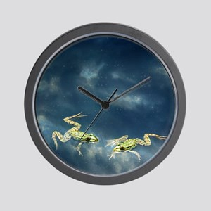 Frogs in water with cloud reflections,  Wall Clock