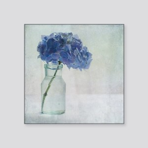 "Hydrangea flower in old gla Square Sticker 3"" x 3"""