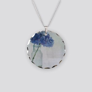 Hydrangea flower in old glas Necklace Circle Charm
