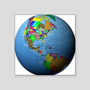 """Globe Showing North America Square Sticker 3"""" x 3"""""""