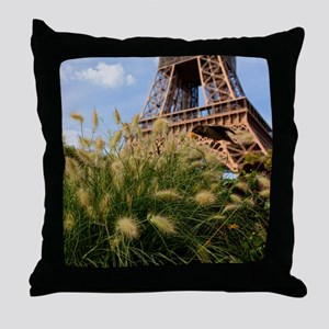 Low point of view on Eiffel Tower, Pa Throw Pillow