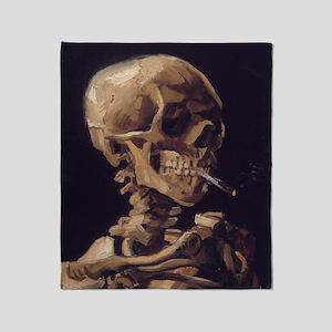 Vincent Van Gogh Skull with a Burnin Throw Blanket