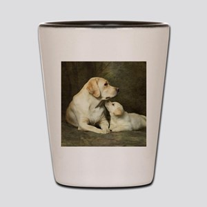 Labrador dog with her puppy Shot Glass