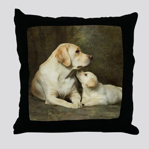 Labrador dog with her puppy Throw Pillow