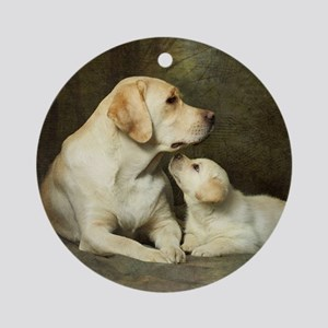 Labrador dog with her puppy Round Ornament