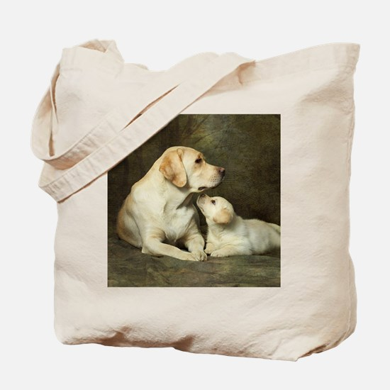 Labrador dog with her puppy Tote Bag
