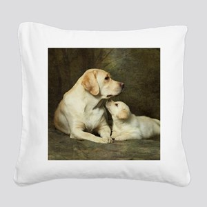 Labrador dog with her puppy Square Canvas Pillow