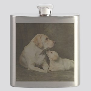 Labrador dog with her puppy Flask