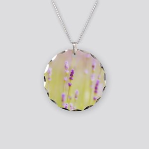 Lavender field. Necklace Circle Charm