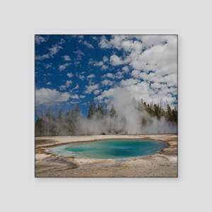 "Hot spring in Midway Geyser Square Sticker 3"" x 3"""