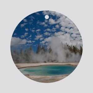 Hot spring in Midway Geyser Basin o Round Ornament