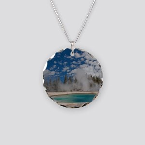 Hot spring in Midway Geyser  Necklace Circle Charm