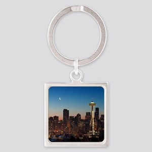 Moon rising over the iconic Space  Square Keychain