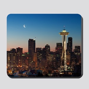 Moon rising over the iconic Space Needle Mousepad