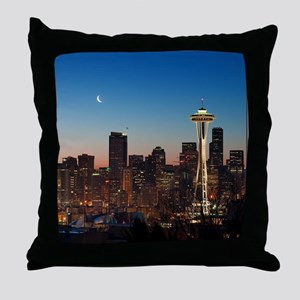 Moon rising over the iconic Space Nee Throw Pillow