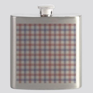 Red Blue Plaid Tablecloth Flask