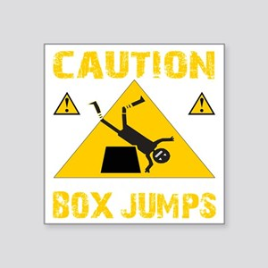 "CAUTION BOX JUMPS - BLACK Square Sticker 3"" x 3"""