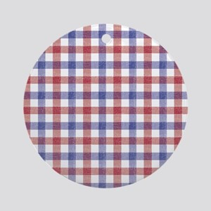 Red Blue Plaid Tablecloth Round Ornament