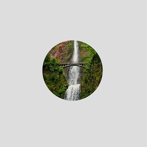 Multnomah Waterfall at Oregon. Columbi Mini Button
