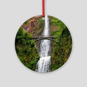Multnomah Waterfall at Oregon. Colu Round Ornament