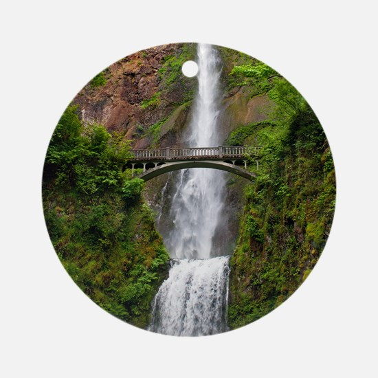 Multnomah Waterfall at Oregon. Colu Round Ornament