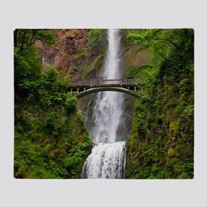 Multnomah Waterfall at Oregon. Colum Throw Blanket