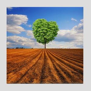 Lonely heart shape tree in field. Tile Coaster