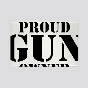 Beware of Proud Gun Owner BW Rectangle Magnet