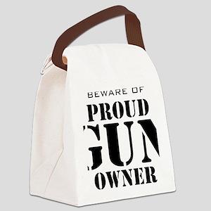 Beware of Proud Gun Owner BW Canvas Lunch Bag