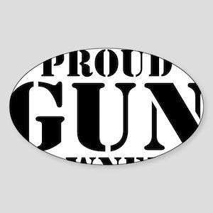 Beware of Proud Gun Owner BW Sticker (Oval)