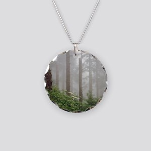 Misty woods in forest. Necklace Circle Charm