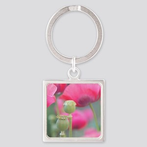 Poppies, Bourges, France. Square Keychain