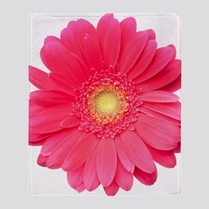 Pink gerbera daisy isolated on white Throw Blanket