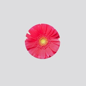 Pink gerbera daisy isolated on white. Mini Button