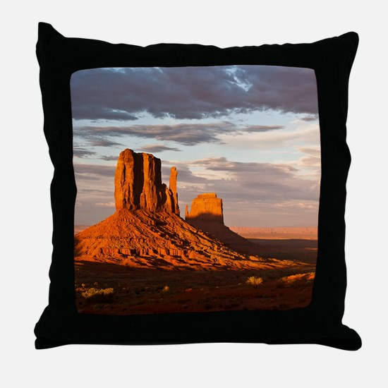 Mittens of Monument Valley at sunset, Throw Pillow