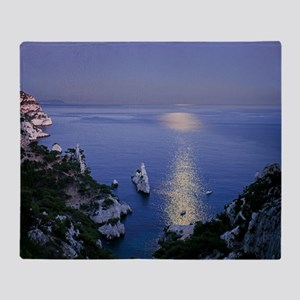 Night view over calanque of Sugiton  Throw Blanket