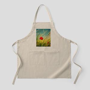Poppy in summer field. Apron