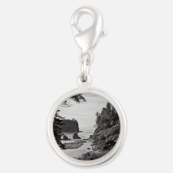 Ruby Beach, Olympic National P Silver Round Charm