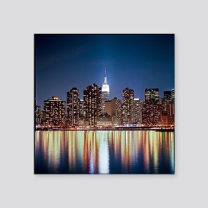 """Reflection of skyline at ni Square Sticker 3"""" x 3"""""""