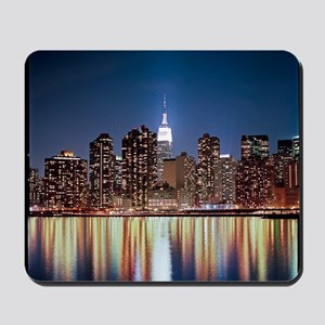 Reflection of skyline at night, New York Mousepad