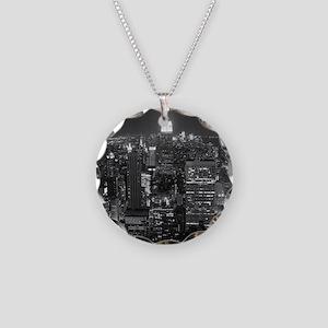 New York City at Night. Necklace Circle Charm