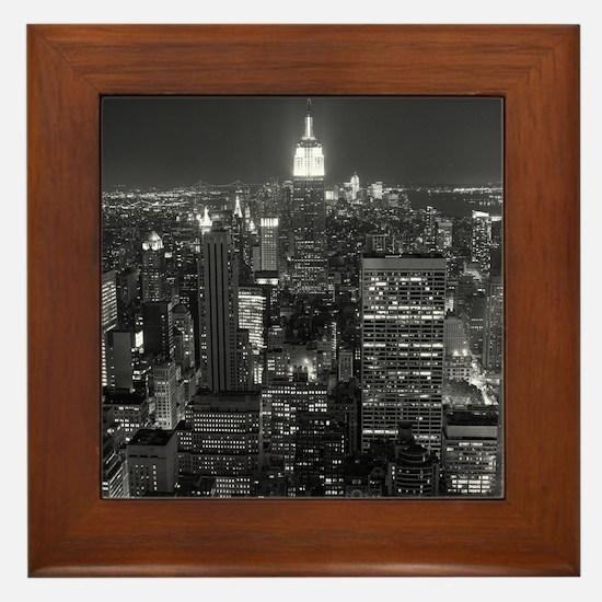 New York City at Night. Framed Tile