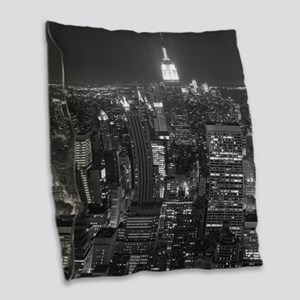New York City at Night. Burlap Throw Pillow
