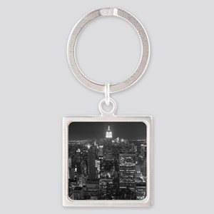 New York City at Night. Square Keychain