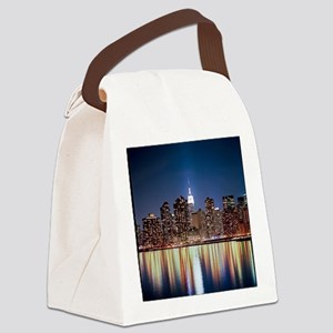 Reflection of skyline at night, N Canvas Lunch Bag