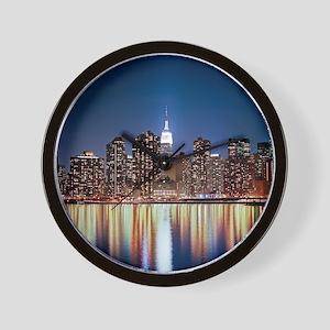 Reflection of skyline at night, New Yor Wall Clock