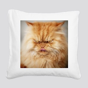 Persian cat looking angrily i Square Canvas Pillow